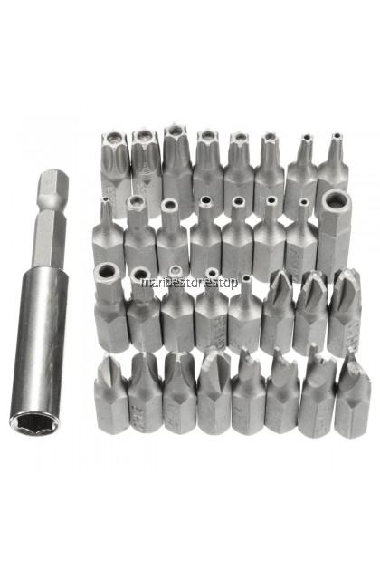 33pcs Screwdriver Bits Tamper Proof Electric Screwdriver Head Hex Shank Tip Drill Bit Magnetic Screws Holder Torx