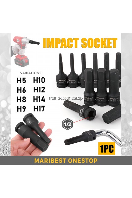 "HF 1/2"" DR Hex Drive Bit Impact Socket 5MM 6MM 8MM 9MM 10MM 12MM 14MM 17MM"