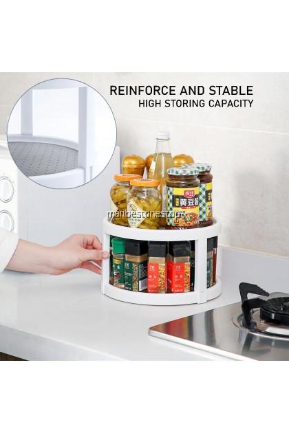 360 ROTATE 2 LAYER STORAGE TRAY 360° Rotating Spice Rack Seasoning Storage Organizer Spin Rotatable Tray