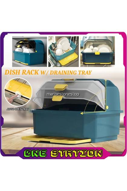 DISH RACK WITH LID Dish Drainer With Cover Kitchen Dishes Rack Dishware Storage Dish Drainer Rack RAK PINGGAN
