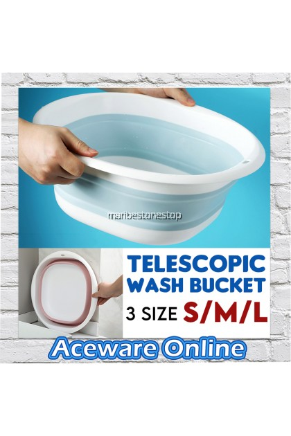 Foldable Wash Basin Telescopic Washing Bucket Portable Folding For Kitchen Car Wash Fishing Travel Bathroom Baldi Lipat