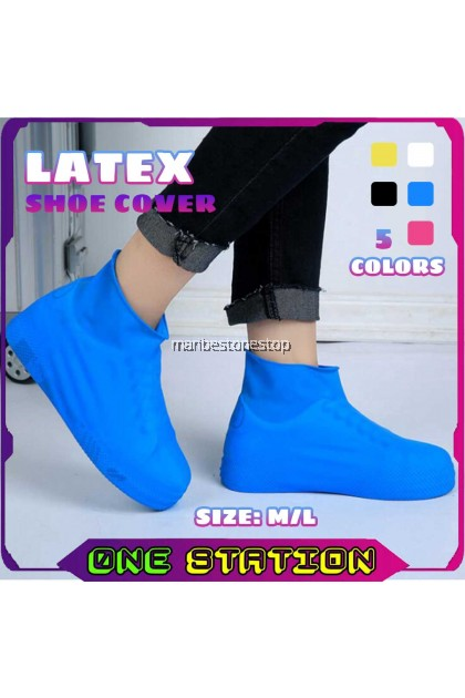 1PAIR LATEX WATERPROOF SHOE COVER PROTECTOR ELASTIC REUSABLE FOR TRAVEL OUTDOOR RAINY DAY