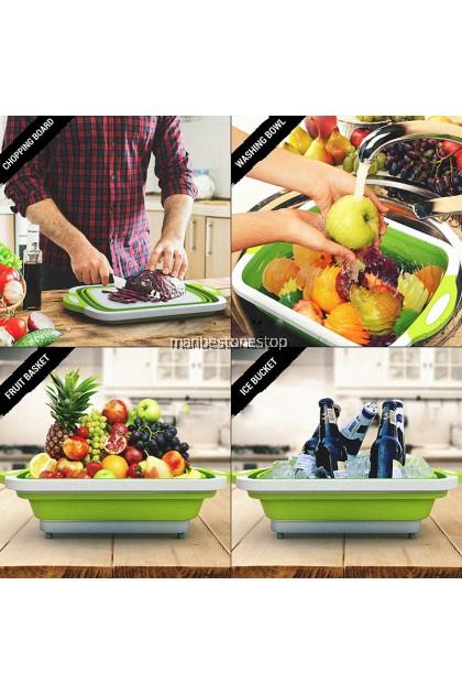 3 IN 1 Telescopic Folding Chopping Board Multipurpose Foldable Chopping Board Drain Basket Vegetable Cutting Board
