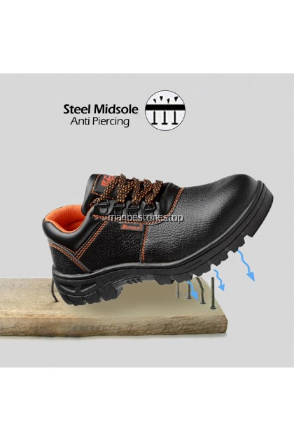 Safety Shoe Steel Toe Cap Mid Sole Low Cut Black Safety Boots Kasut Safety