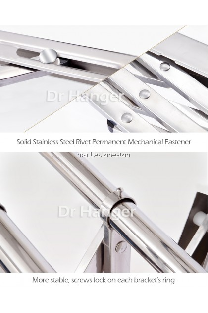 1.5M X 3 BAR 25MM WALL MOUNTED STAINLESS STEEL RETRACTABLE CLOTHES HANGER (NEW)