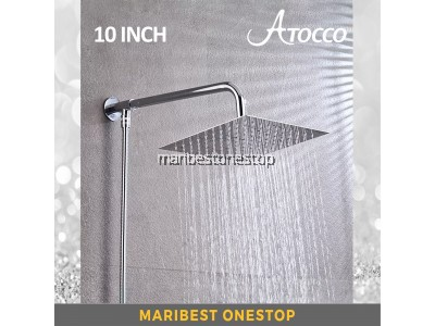 Atocco 10 Inch Stainless Steel Bathroom Home Chrome Shower Set includes Shower Head and Shower Arms and 1.5M Hose